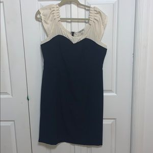 Navy and creme fitted dress